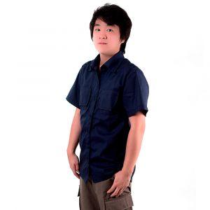 Camisa Manga Curta Jovem Azul Marinho Masculina Modelo 2016