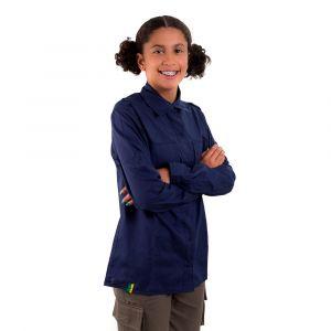 Camisa Manga Longa Jovem Azul Marinho Feminina Modelo 2016