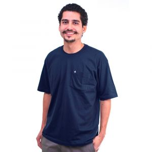 Camiseta Básica Jovem Azul Marinho Masculina Modelo 2016