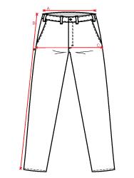 Guia de medidas - calça social masculina