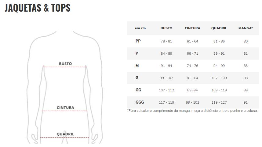 Tabela de Medidas - The North Face - Masculino